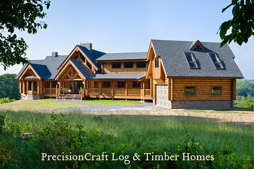 Exterior of a Custom Milled Log Home | by PrecisionCraft Log Homes,modern,house,design
