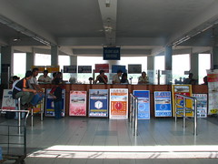 Boat ticket sales desks. Sibu to Song and Kapit. [IMG_4750]