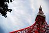 Tokyo Tower (Tennessee Ronin) Tags: japan tokyo nikon cloudy tokyotower 東京 雲 minatoku 空 東京タワー 港区 d80 高い