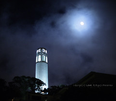 coit summer blue moon in night fog (louie imaging) Tags: sf blue light summer moon building tower night clouds landscape evening san francisco moody cityscape view nightscape expression low foggy coittower moonlight coit jazzy siloutte nightfog