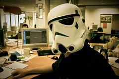 Working hard on ... well .. at work 3/52 (PtitBen) Tags: storm trooper work canon computer star office starwars desk bureau helmet stormtrooper wars job colleague stijn ordinateur casque collgue diegem 400d 52pics rebelxti 52wsp lilghtroom 52picsthursday