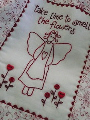 Stitchers' Angel Sewing Bag (Bloom and Blossom) Tags: red white angel bag embroidery tote stitchery ricrac