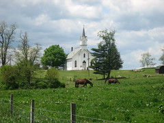 Country church in rural Ohio (cherie_draa) Tags: horses cemeteries clouds barn rural country barns churches amish farms buggies amishcountry oldchurches holmescounty ruralohio amishbuggies