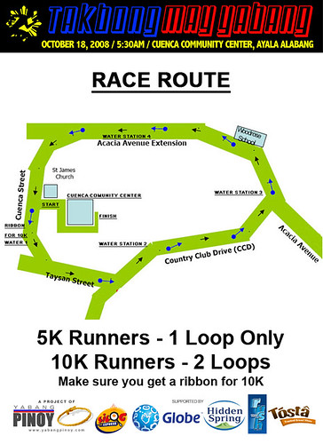 Takbong May Yabang Race route