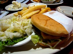 101808, 292/366: The Frisco (Boots in the Oven) Tags: october burger saturday chips cheeseburger fries american slaw cabbage americana coleslaw frisco week42 sabato project366 project3662008