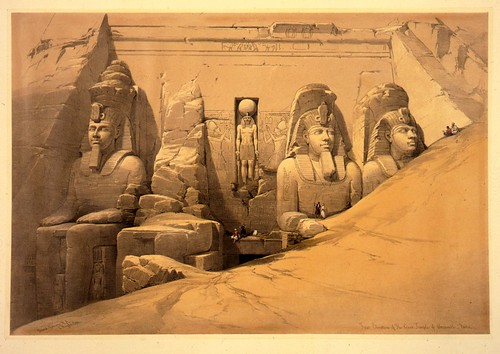 017- Perspectiva frontal del templo de Aboo-Simble en Nubia -David Roberts 1838