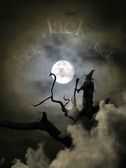 Restless dreams and cold moonbeams (Matt West) Tags: sky moon tree halloween night clouds cat jack words poem witch magic evil spell spooky nighttime moonlight paintshoppro inky moonbeam familiar nurseryrhyme views200