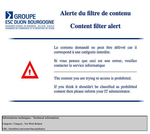 BarCampDijon2 : Content filter alert