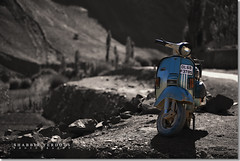 Indian Vespa Scooter (Shabbir Ferdous) Tags: india colour vespa photographer indian scooter processing ladakh selective treatment bangladeshi lamayuru shabbirferdous wwwshabbirferdouscom shabbirferdouscom
