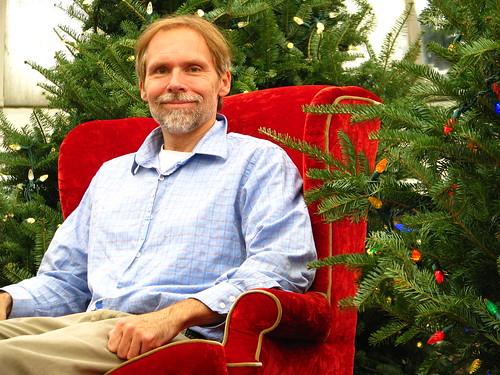 holding Santa's chair