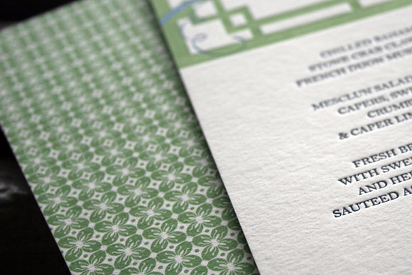 Helani letterpress menu backing - Smock