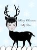 Deer Girl ~ Holiday Christmas Card (ms_mod) Tags: christmas holiday art girl collage vintage design doll antique surreal ephemera deer fawn card blank etsy hybrid dollface dollfacedesign