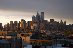 Office View Golden Hour (typographyshop) Tags: city light sun philadelphia skyline comcast philly drake goldenhour rowhouse southphiladelphia southphilly typographyshop