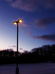 By The Lamppost's Warmth (gonisj) Tags: winter snow night evening suburban lamppost latefall