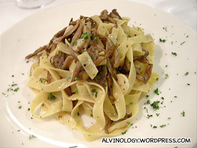 Oyster Mushroom Pasta with White Truffles Shavings