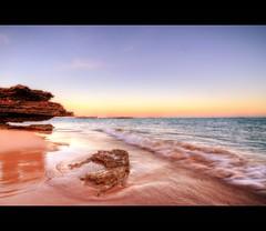PINK & BLUES BROOME BEACH SUNSET (Wiffsmiff23) Tags: ocean pink blue sea sculpture reflection beach pier rocks dinosaur smooth peach sigma shinny westernaustralia broome australai canon450d wiffsmiff23
