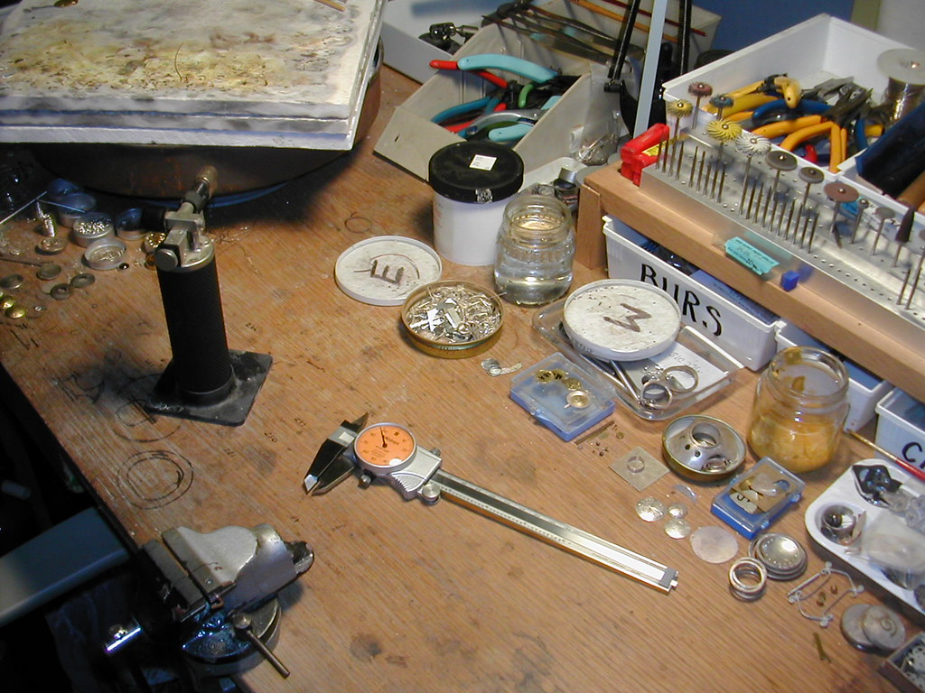 my workbench at one of its tidier moments