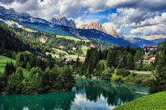 The Dolomites, Italy (sminky_pinky100 (In and Out)) Tags: life blue italy mountains green clouds landscape town aqua village rooftops searchthebest scenic meadows alpine valley mountainlake dolomites blueribbonwinner personalbest 5photosaday bej abigfave omot citrit eyejewel betterthangood theperfectphotographer paololivornosfriends