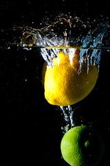 Lemon & Lime (611 productions) Tags: black water canon lemon flash bangor maine drop lime splash 430ex xti strobist
