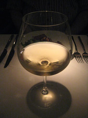 Glass of Journey's End Chardonnay 2006, South Africa