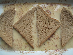 Dip bread in mix