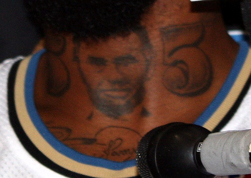 DeShawn's other new tats include a backwards Pittsburgh Pirates