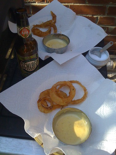 Not just beer-battered, Schlafly Dry Hopped APA battered Vidalia onion rings by chrisfreeland2002