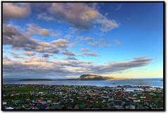 Evening in Trshavn (Jkup) Tags: city sunset sea mountain clouds landscape eos cityscape harbour canon20d fjord vc hdr faroeislands trshavn froyar frerne nlsoy tamron1750mm