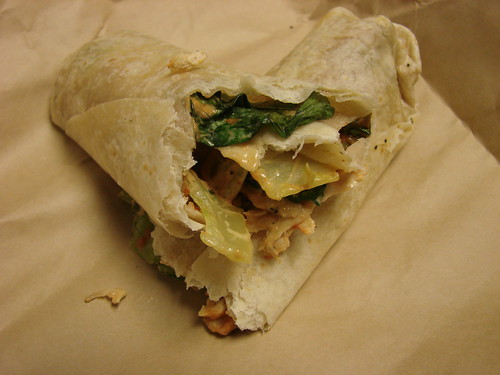 Inside Pret Buffalo Chicken Wrap