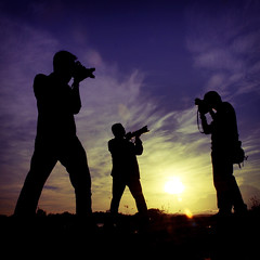 The Photographers (wazari) Tags: camera blue sky people sun black silhouette yellow sunrise person nikon asia photographer action photographers posing malaysia borneo mountkinabalu d200 sabah shooters the tuaran jurufoto wazari azmanjumat rosleekarim