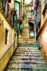 The Rainbow Stairs (Gregory Warran) Tags: italy tourism true real perspective creative landmarks tourists explore reality touristattraction touristattractions global realism magicdonkey gregorywarran shortsharpshot themagicdonkey lakecomovillageancienthilltoppaintspilledgregorywarranshortsharpshotlondonhdrtonemappedphotomatix3exposuresthreeexposures gregwarran talkinginwhispers seeinginpictures
