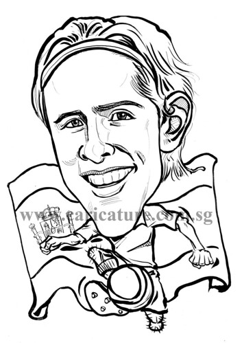 Caricature of Fernando Torres ink watermark