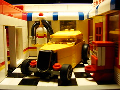 Service Station Yellow HotRod (The Big Rafalski) Tags: street hot cars ford car shop race lego garage gas pump rod roadster