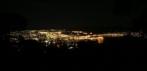 Hobart at Night from Mt Nelson