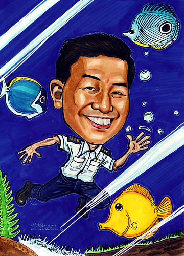 Caricature Singappore Navy Colonel exotic fish tank