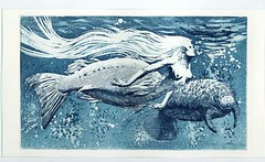 SIRENA e LAMANTINO (alfelf) Tags: art etching arte kunst mermaid manati sirena incisione gravure acquaforte lamantino alfelf