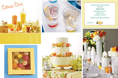 Wedding Wednesday - Citrus Chic (Tastefully Entertaining) Tags: party summer orange yellow glasses candy weddingcake invitation favor entertaining centerpieces tabledecor tastefullyentertaining citruschic