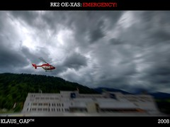 """RK2 OE-XAS: Emergency!"" (view in original) (Klaus_GAP™ - taking a timeout) Tags: alps start photoshop geotagged bayern bavaria dramatic helicopter alpen emergency takeoff klinikum sar garmischpartenkirchen eurocopter hubschrauber ec searchandrescue notarzt notfall landeplatz emergencydoctor diamondclassphotographer flickrdiamond bk117b2 oexas"