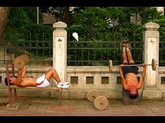 Sidewalk Gym (Life in AsiaNZ) Tags: street shirtless man men muscles vietnamese exercise culture vietnam sidewalk hanoi gym footpath gymnasium bodies weights flickrgiants