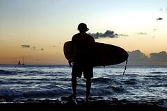 (sanosaurus []) Tags: ocean sunset portrait silhouette hawaii evening waiting surf waves pacific waikiki oahu surfer candid explore honolulu