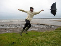 wooooooooo (squacco) Tags: park west beach grass rain weather wales umbrella seaside wind blow creativecommons goes 2008 wellies tapestry blustery margam tapestrygoeswest kagool pointandshoot2008