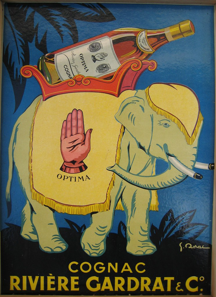 An elephant is carrying a huge 500 Liter Cognac bottle of Optima!