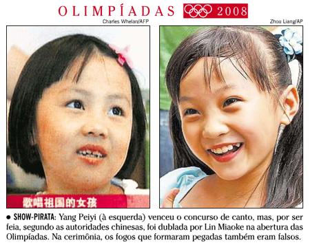 Capa de O Globo, 13/08/08 - Troca de chinesas na abertura das olimpíadas