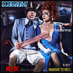 """COME UNA VERGINELLA SULL'AUTOSTRADA PER L'INFERNO"" per i 60 ANNI di ANGUS YOUNG (The PIX-JOCKEY (visual fantasist)) Tags: show portrait music sexy celebrity beauty rock acdc photoshop album joke madonna contest hell fake manipulation humour pop cover scorpions vip photomontage chop worth1000 popstar fotomontaggi ciccione angusyoung robertorizzato pixjockey"