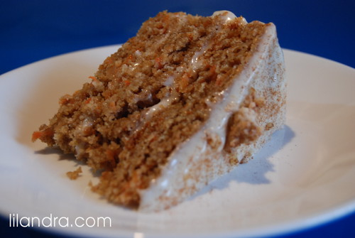 A slice of Golden Wheat Carrot Cake
