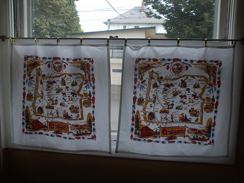 Oregon state tea towel curtains