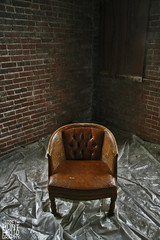 empty (Jarreth Hunt Photography) Tags: old brown color brick beautiful loft canon photography rebel amazing fantastic chair downtown rustic dirty best mo glorious springfield distillery cracked hunt tarp xti jarreth jarrethhuntphotography