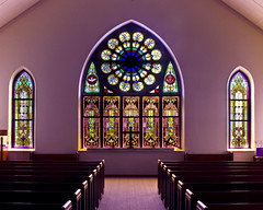Sanctuary (ladyhawker) Tags: color history church pentax chapel stainedglass kansas baptist winfield pews hdr sanctuary americanwest americanhistory k100d utahphotographer justpentax inspiredbyhim wwwwholegrainphotographynet
