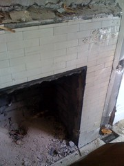 Uncovered fireplace