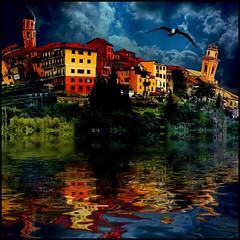 I Dream of Italy (h_roach) Tags: italy bird river village dream eerie creepy vision fantasy moonlight hallucination nightmare 500x500 intensecolors bej abigfave platinumphoto azofdigitalediting awardtree supernattional